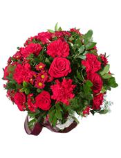 红玫瑰12支 红色康乃馨12朵 红色雏菊间插,尤加利叶、蓬莱松丰满