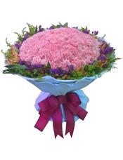 99枝粉色康乃馨,水仙百合,黄英勿忘我黄莺丰满.