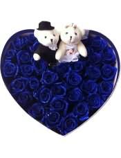 33支精品蓝色妖姬,搭配2只可爱小熊。