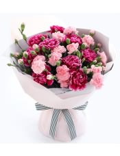 紫红色康乃馨9枝,粉色多头康乃馨10枝