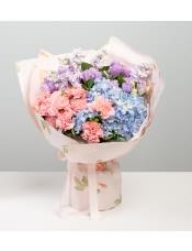 粉色康乃馨10枝,�\�{色�C球1枝,�\紫色紫�_�m5枝,�\紫洋桔梗6枝,�d子�~10枝