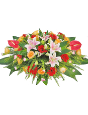 红掌,粉色香水百合,红色太阳花,香槟玫瑰,粉色多头康乃馨,绿叶