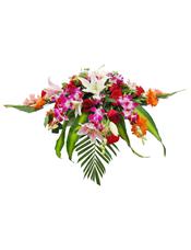 红玫瑰、粉百合、白百合、橘色太阳花、红色康乃馨、洋兰、散尾葵、绿叶间插