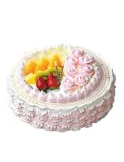松软的戚风蛋糕,夹入Q滑布丁、�X�m果冻和多种水果