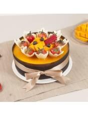 �庥裘⒐��u,包覆著香�獾那煽肆ζ蒿L蛋糕和芒果味奶酪慕斯,搭配新�r水果,甜蜜你的心情.