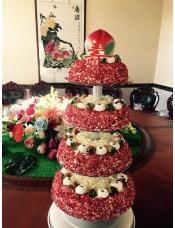 五层蛋糕,水果恋曲14寸+12寸+10寸+8寸+寿桃,铁架用完需归还.