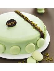 主要配料:巧克力戚风胚、焦糖慕斯、鳄梨慕斯、巧克力绿色淋面