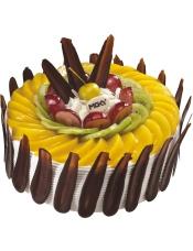主要原料:优质蛋糕胚、优质奶油、奇异果、黄桃、大红提、黑巧克力