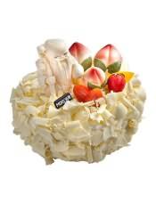 乳脂奶油蛋糕:邀来天宫的寿星,摘下桃园的仙桃,为您贺寿,你的健康、长寿是儿女们的心愿。