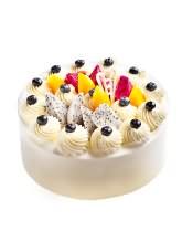 水果蛋糕:芒果原浆蛋糕坯,乳脂奶油浓郁香醇,蓝莓、火龙果新鲜酸甜,奶油细腻丝滑,水果酸甜可口。