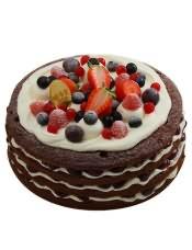 """多种水果的搭配,简单时尚的""""裸""""蛋糕。"""