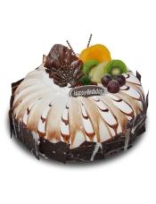 糕胚:原味坯 夹心:蓝莓水果布丁 装饰:水果装饰