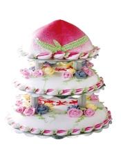 8寸寿桃 加 10寸 加 12寸 糕胚:原味鲜奶胚 夹心:两层奶油夹心 装饰:鲜奶油裱花