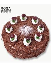 满满的巧克力屑和奶油,水果搭配,内里的黑樱桃清新爽口,浓而不腻是这款蛋糕的一大特色。