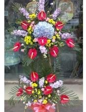 浅紫色绣球一个,红掌14片,紫罗兰10枝,黄色小邹菊适量,其它配花配叶适量添加。