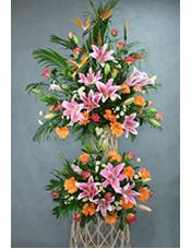大鸟5枝,多头粉香水百合6枝,扶郎16枝,玫瑰20枝,搭配适量配花配叶