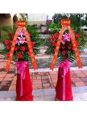 精品红色扶郎、1支多头粉百合,搭配适量散尾葵、黄莺,类型 :单个花篮