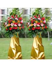 红色扶郎花、红色康乃馨、红玫瑰、橘色扶郎花、粉色康乃馨,搭配适量散尾葵、龟背竹、栀子叶、富贵竹,类型 :单个花篮
