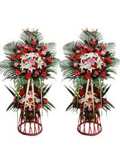 红色扶郎花、粉色扶郎花、多头白百合、多头粉百合,搭配适量散尾葵、栀子叶、天堂鸟,类型 :单个花篮