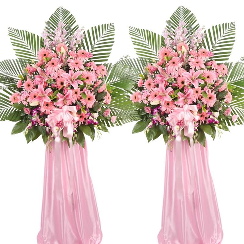 粉色扶郎花、多头粉百合、粉色康乃馨、粉色金鱼草、洋兰,搭配适量散尾葵、栀子叶,类型 :单个花篮