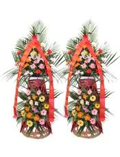 精品红色扶郎花、橘色扶郎花、黄色扶郎花、粉色扶郎花、1支多头粉百合、白玫瑰、粉玫瑰、紫玫瑰,搭配适量散尾葵、栀子叶、富贵竹,类型 :单个花篮