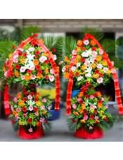 各色扶郎花、多头白百合,搭配适量散尾葵、栀子叶、黄莺,类型 :单个花篮