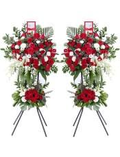 精品红玫瑰、白玫瑰、浅绿色洋桔梗,搭配适量白色洋兰、红色相思梅、散尾葵、龟背叶、巴西叶、尤加利、阔叶竹,类型 :单个花篮