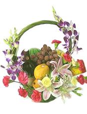 葡萄,小西瓜,芒果,香蕉,苹果,果篮(不包含红酒,仅为装饰物)