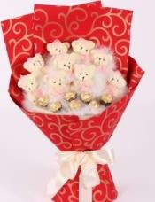 9只可爱小熊+7颗正品费列罗巧克力