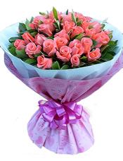 39枝粉玫瑰,绿叶丰满