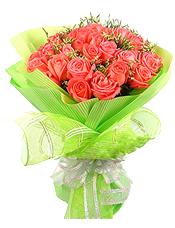 30只粉玫瑰,水晶草间插,