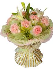 11枝粉色康乃馨单独包装,2只白色百合,黄英间插