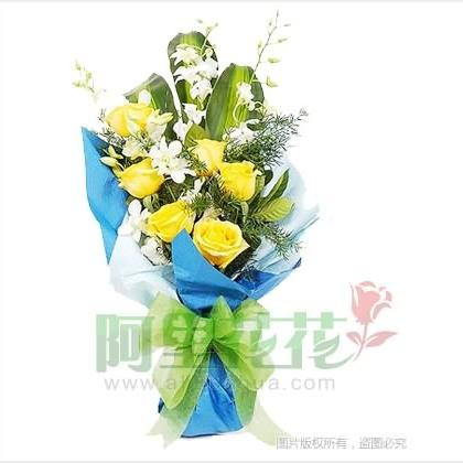 14枝玫瑰花/黄玫瑰