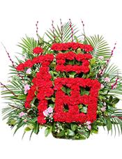 """80支红色康乃馨插成""""福""""字,银柳、粉色多头康乃馨外围,栀子叶间插,外围散尾葵"""