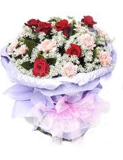 红玫瑰6枝,香槟色(或粉色)康乃馨12枝,蕾丝点缀,绿叶丰满