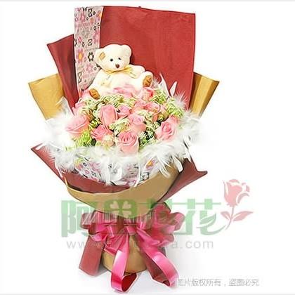 19枝玫瑰花/粉玫瑰