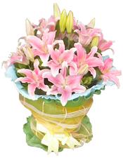 11枝粉色多头香水百合,绿叶间插