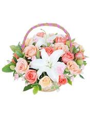 粉玫瑰9枝,香槟玫瑰9枝,多头香水百合1枝、栀子叶适量
