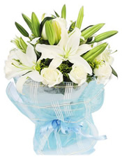 多头白香水百合4枝,白玫瑰9枝,黄莺点缀
