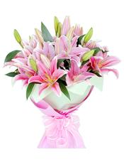 9枝粉色多头香水百合,配叶