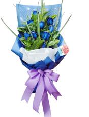 9支蓝玫瑰,绿叶搭配