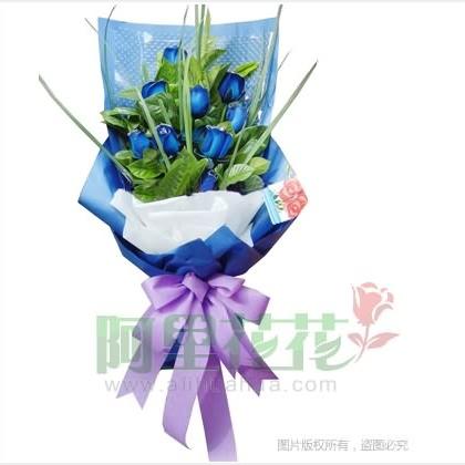 09枝玫瑰花/蓝玫瑰