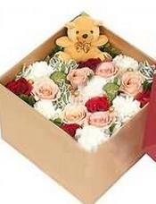 粉色玫瑰6支,白玫瑰6支,红色玫瑰6支,小熊1个