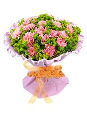粉色康乃馨33枝,叶上黄金间插