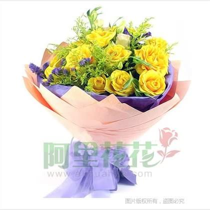 11枝玫瑰花/黄玫瑰