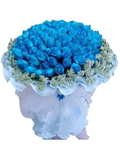99枝蓝玫瑰,蕾丝围边