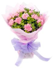 19枝粉色康乃馨,叶上黄金丰满。