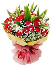 36枝红色康乃馨,竹蕉间插,满天星丰满,栀子叶间插。