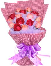 6支红玫瑰,9支粉玫瑰,紫色棉纸独立包装。