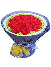 99枝红玫瑰,叶上黄金丰满